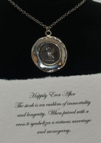 Pyrrha Design Sterling Silver Talisman Wax Seal Necklace 18 Happily Ever After - ArtsiHome