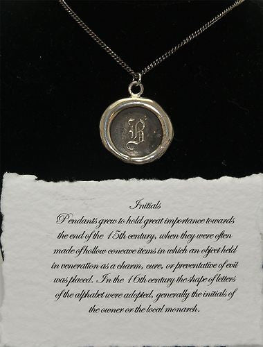 Pyrrha Wax Seal 925 Silver Talisman Initials Initial Letter B Necklace - ArtsiHome