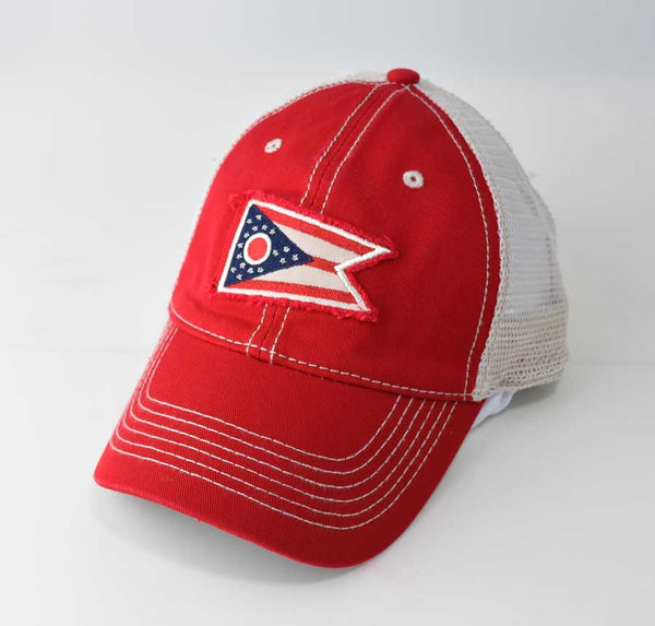 Ohio State Flag Hat Trucker - Red