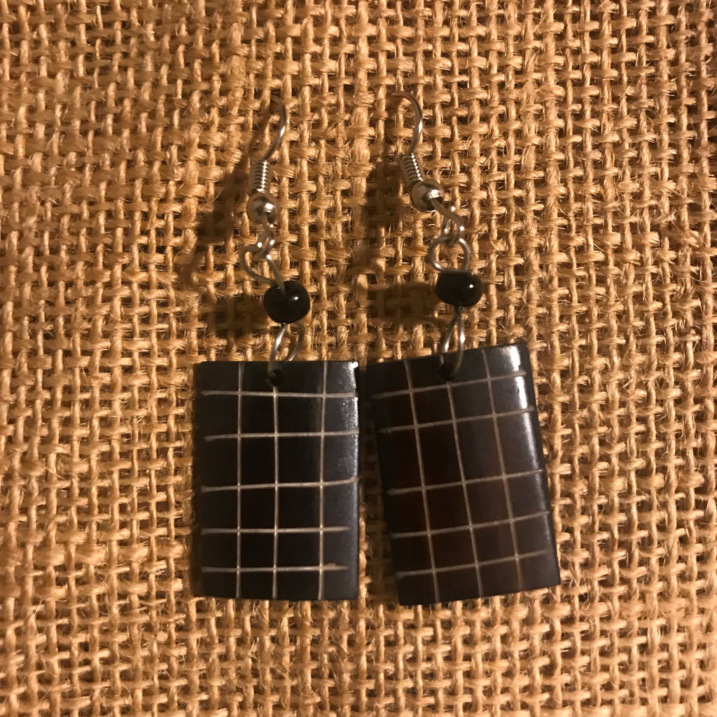 Cow Bone Earrings- Rectangle Engraved