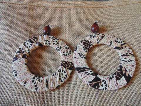 African Print Earrings-Beige Variation 5