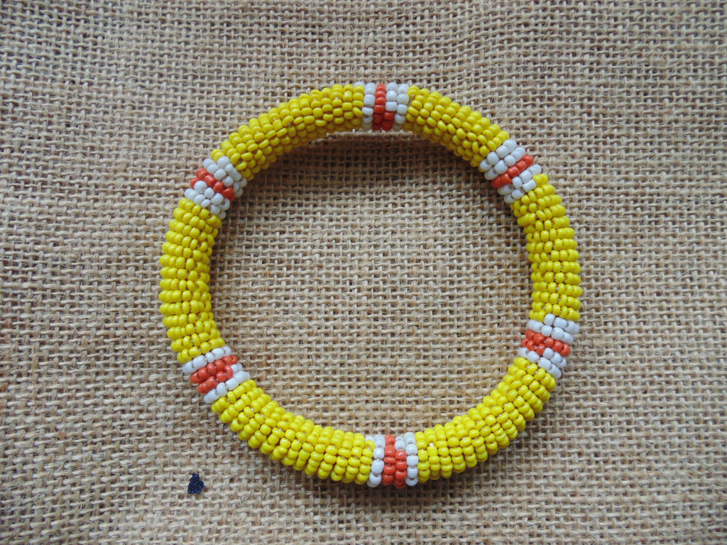 Beaded Bangle-Yellow White Orange Variation
