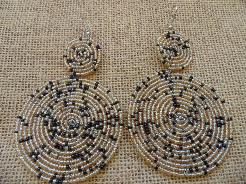 Beaded Earrings-Champagne and Black Variation