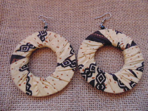 African Print Earrings-Beige Variation 4