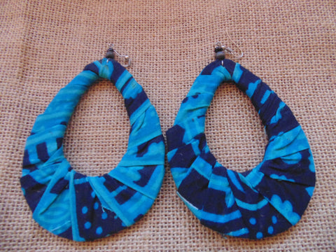 African Print Earrings-Blue Variation 4