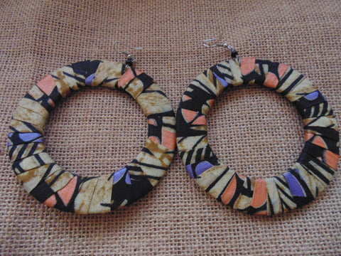 African Print Earrings-Beige Variation
