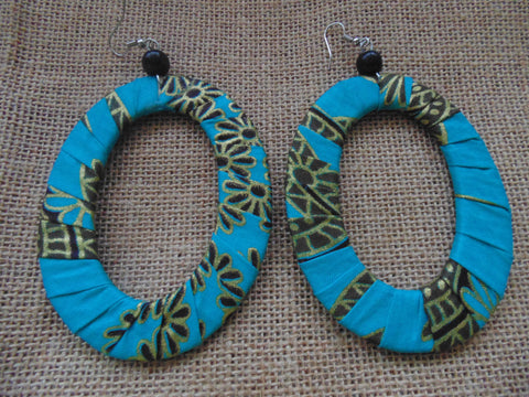 African Print Earrings-Blue Variation 5