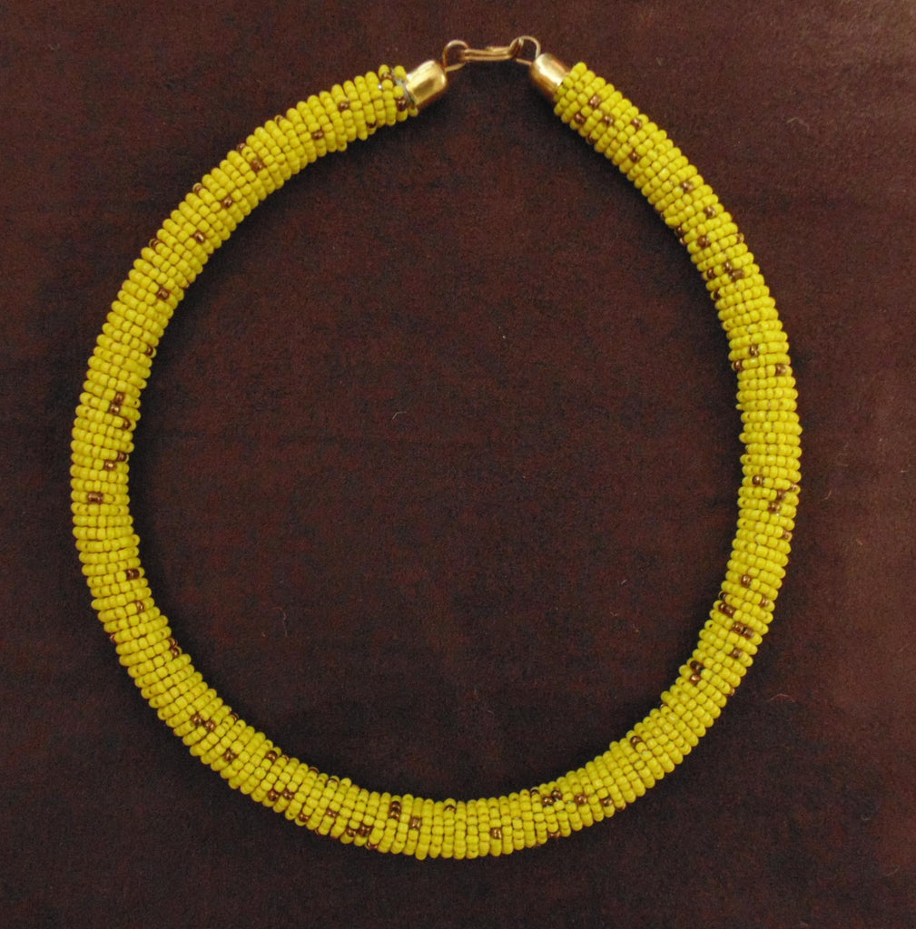 Bead Bangle Necklace-Yellow Gold Variation