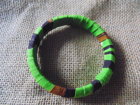 African Print Bangle-Green Variation