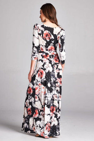 3/4 Sleeve Black Floral Abstract Multicolor Maxi Dress dress- Niobe Clothing