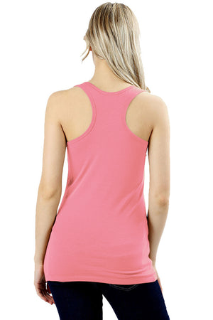 Basic Solid Cotton Racerback Tank Top