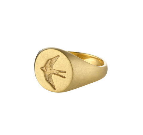 Womens Home Ring in Matte Gold