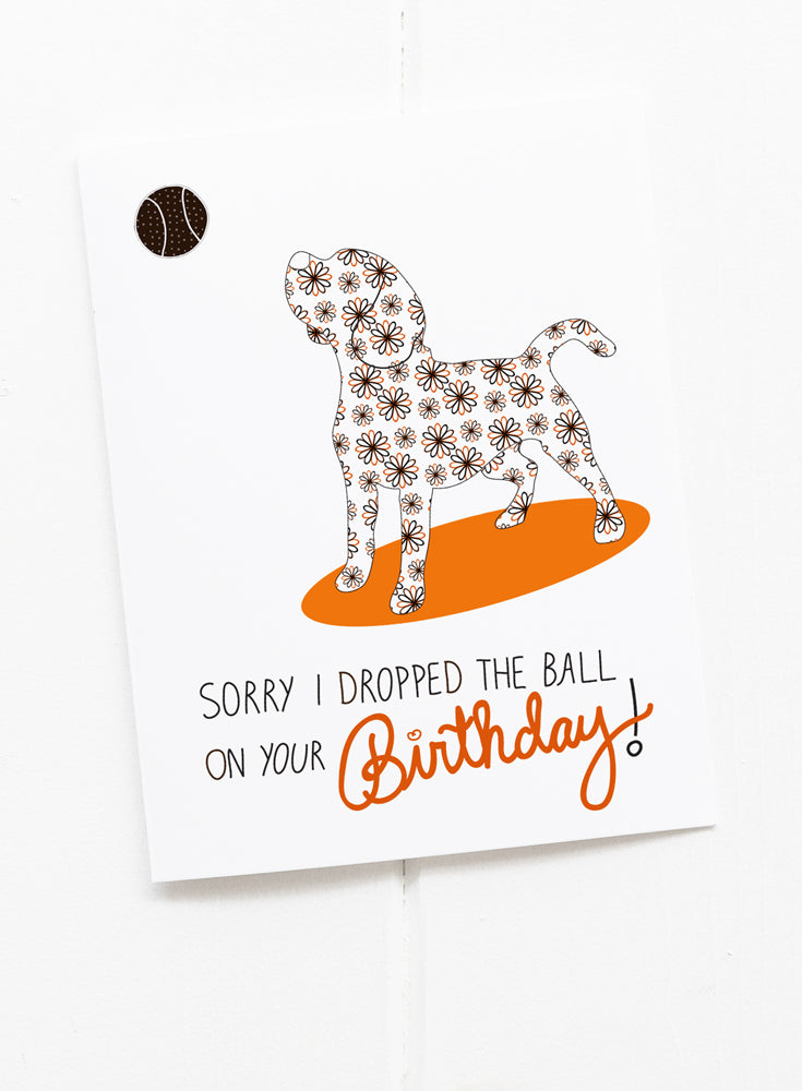 Beagle Dropped the Ball Belated Birthday Greeting Card