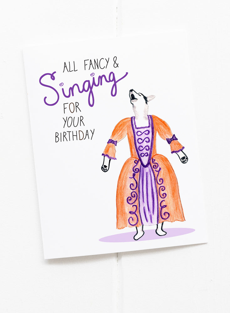 Fancy Opera Dog Singing Birthday Card Greetings