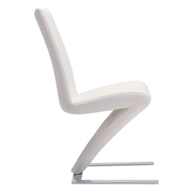 Modern Z-Style Guest or Conference Chair in White Leatherette (Set of 2)