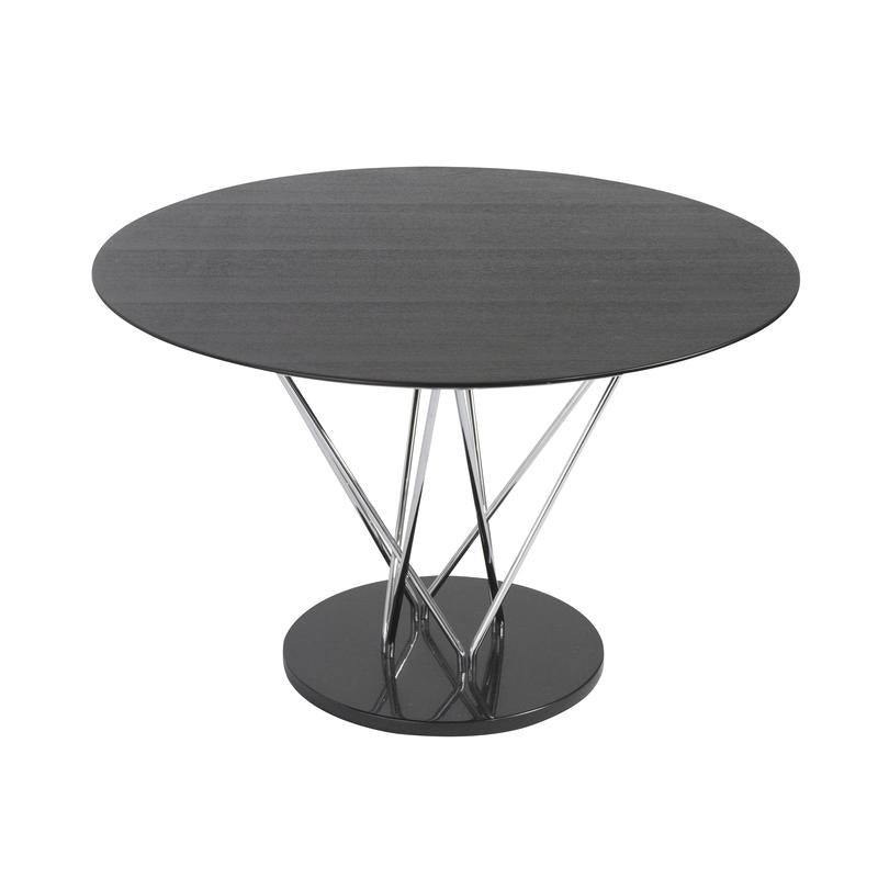 "Round 47"" Black Office Meeting Table w/ Steel Supports"