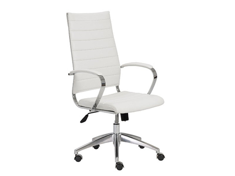 Modern White High Back Office Chair with Chrome Frame