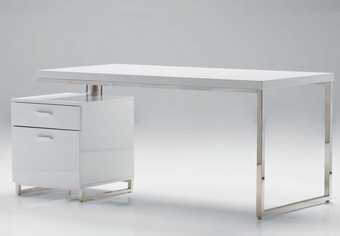 "63"" White Lacquer Desk with Integrated File Cabinet"