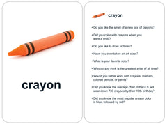 Memory care flashcard 'crayon' showing orange crayon and nine conversation starter questions