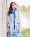 White and Blue Block Printed Indo Western Kurta with Straight Pants