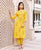Yellow Front Slit Kurta with Striped Straight Pants