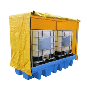 Covered Double IBC Spill Pallet - BB2C ||1140ltr Sump Capacity