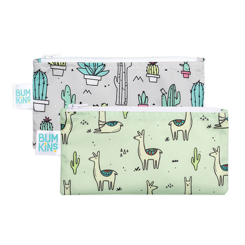 Bumkins Small Reusable Snack Bags (2 pack): Cacti & Llamas