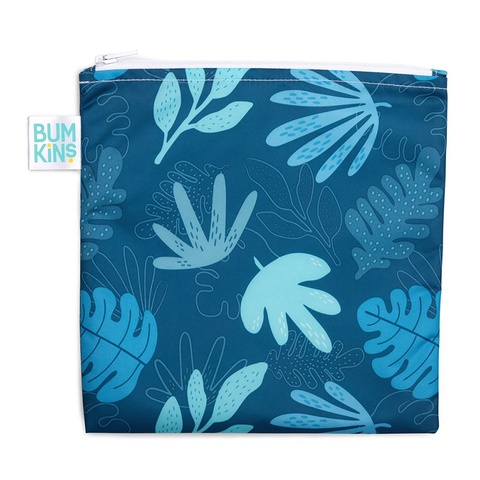 Bumkins Large Reusable Snack Bag: Blue Tropic
