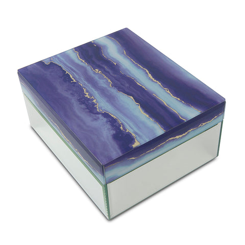 Modern Twilight Clouds Glass Cremation Urn Box - Large