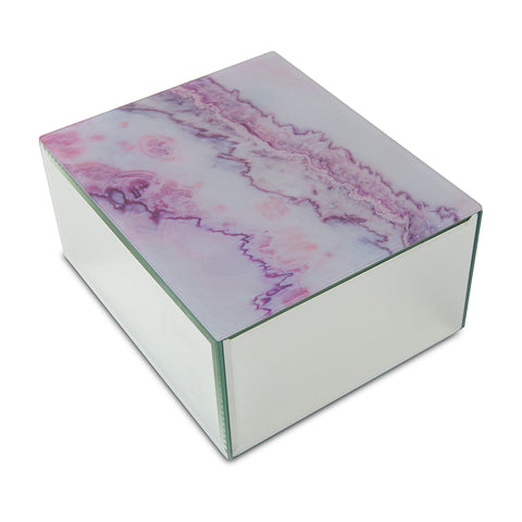 Modern Pink Marbled Glass Cremation Urn Box - Large
