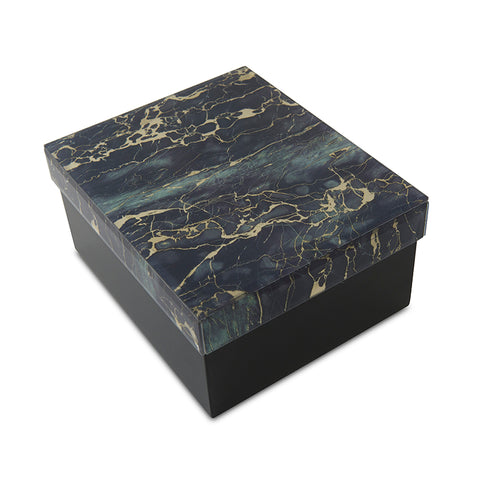 Modern Green and Black Marbled Glass Cremation Urn Box - Large