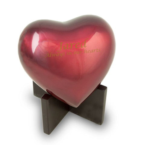 Arielle Heart Urn - Ruby Red