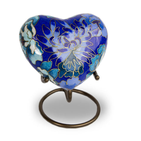 Cloisonne Blue Cremation Keepsake Heart