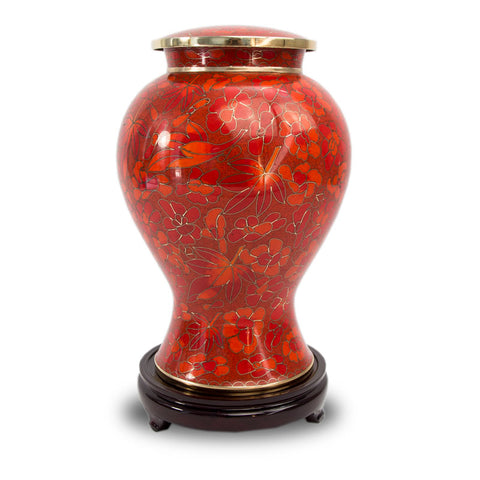 Autumn Leaves Cloisonne Cremation Urn