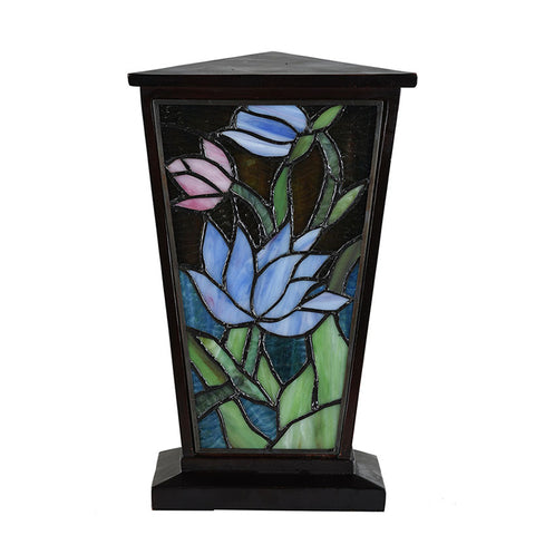 Water Lily Stained Glass Cremation Urn - Brown