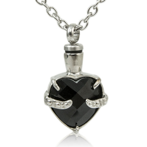 Obsidian Heart Cremation Necklace for Ashes
