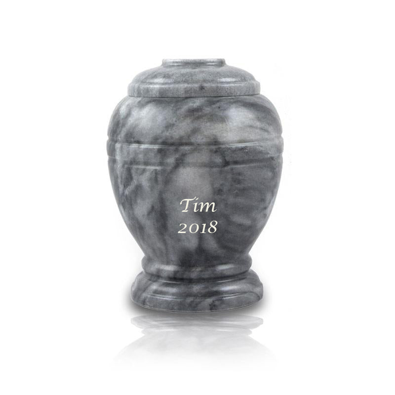 Cloud Gray Marble Cremation Urn- Extra Small