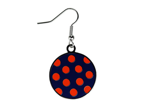 Polka Dot Navy & Orange Dangle (PDDENO)