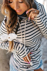DoubleHood™ Sweatshirt - Tan Stripe