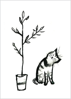 Cat with Plant