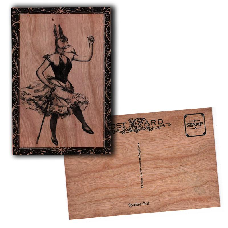 Wood Postcard Ms. Bunny