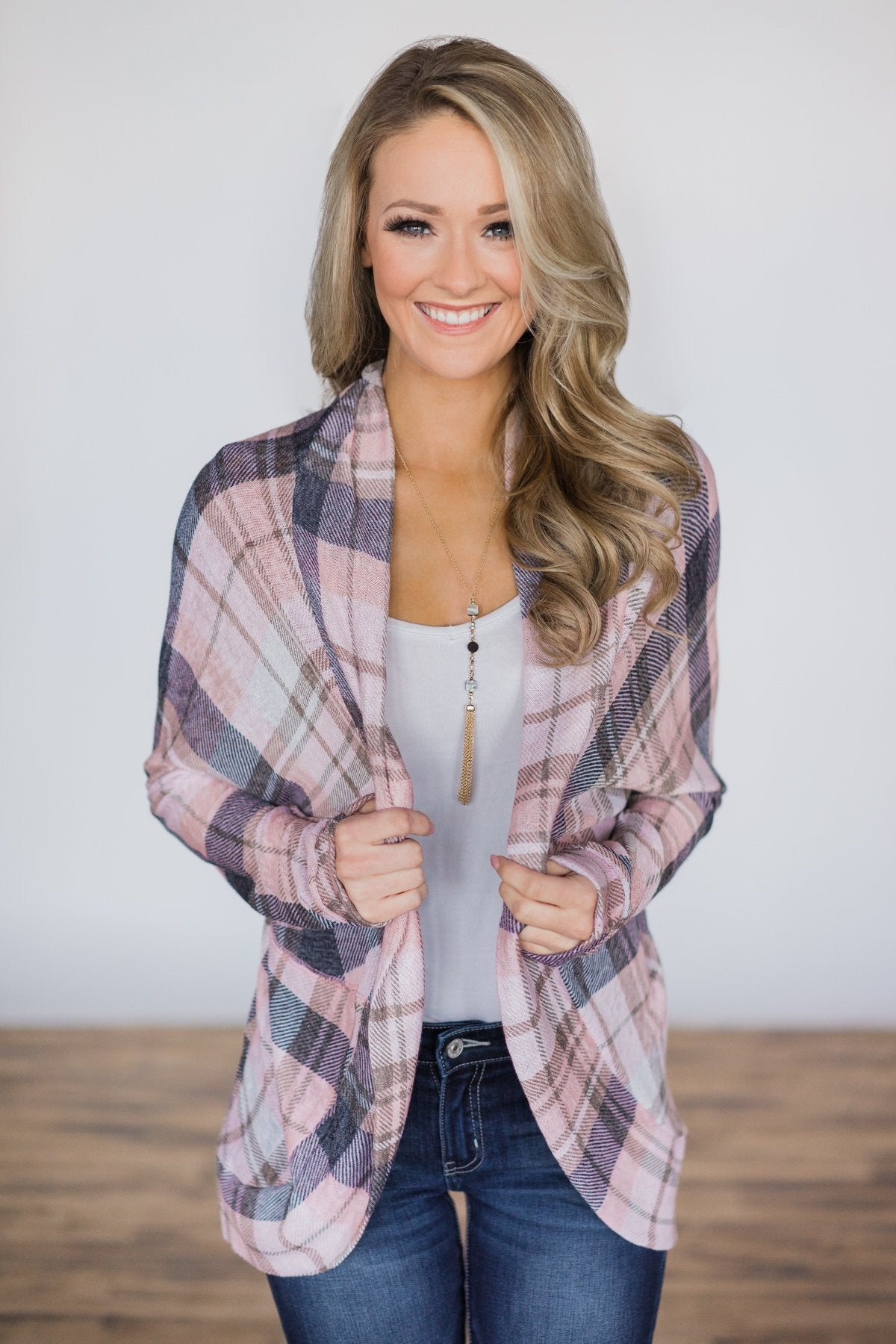 Beautiful in Blush Plaid Cardigan