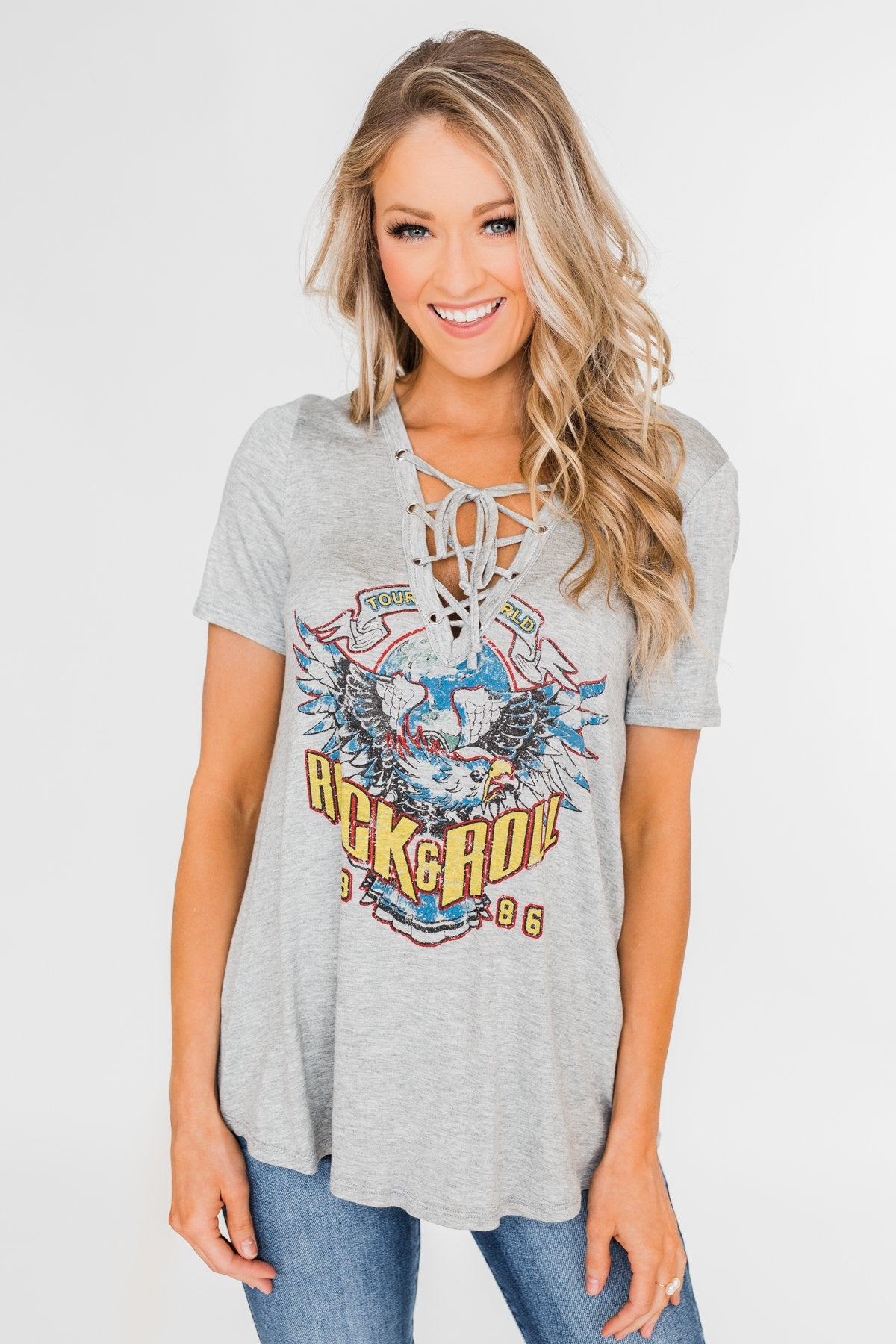Rock & Roll Lace Up Short Sleeve Top- Grey