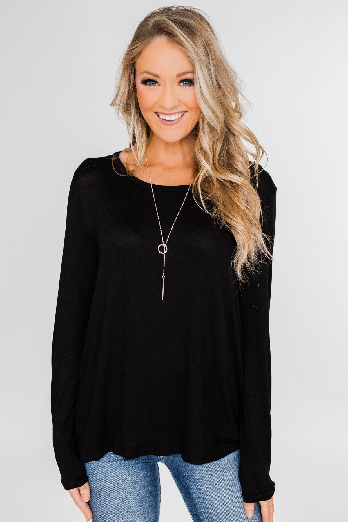 Cut Out Back Long Sleeve Top- Black