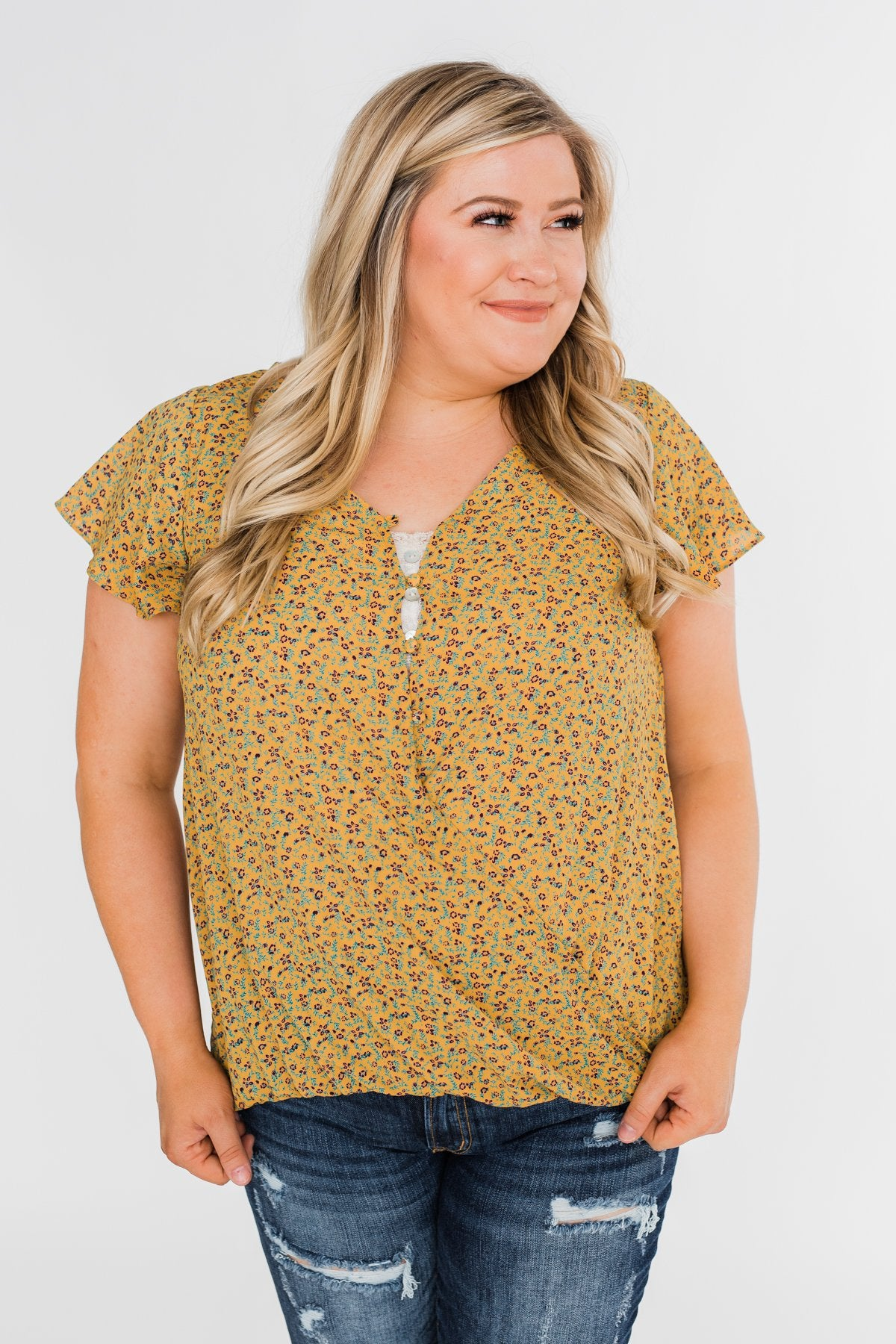 Moving On Floral Botton and Wrap Top- Mustard