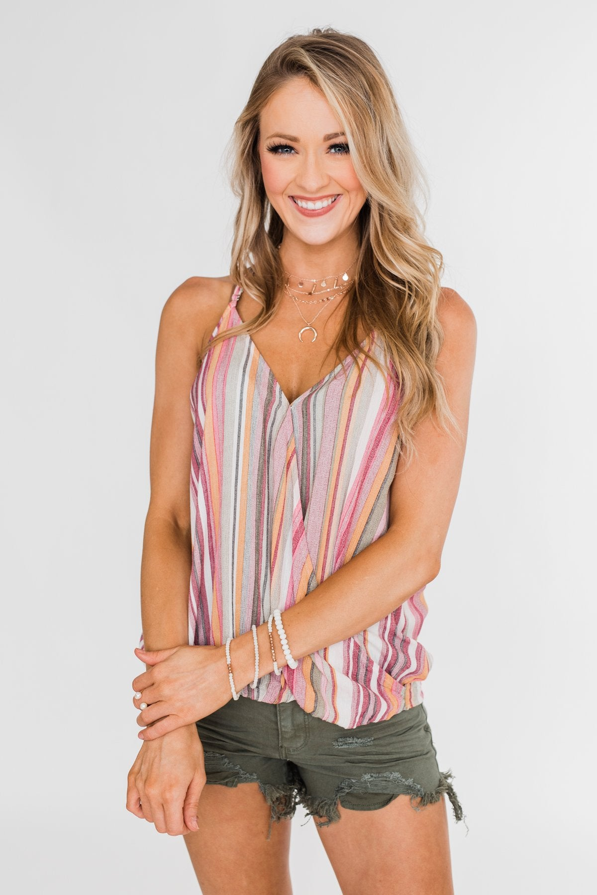 Dance With Me Geo Pattern Tank Top- Navy & Pink