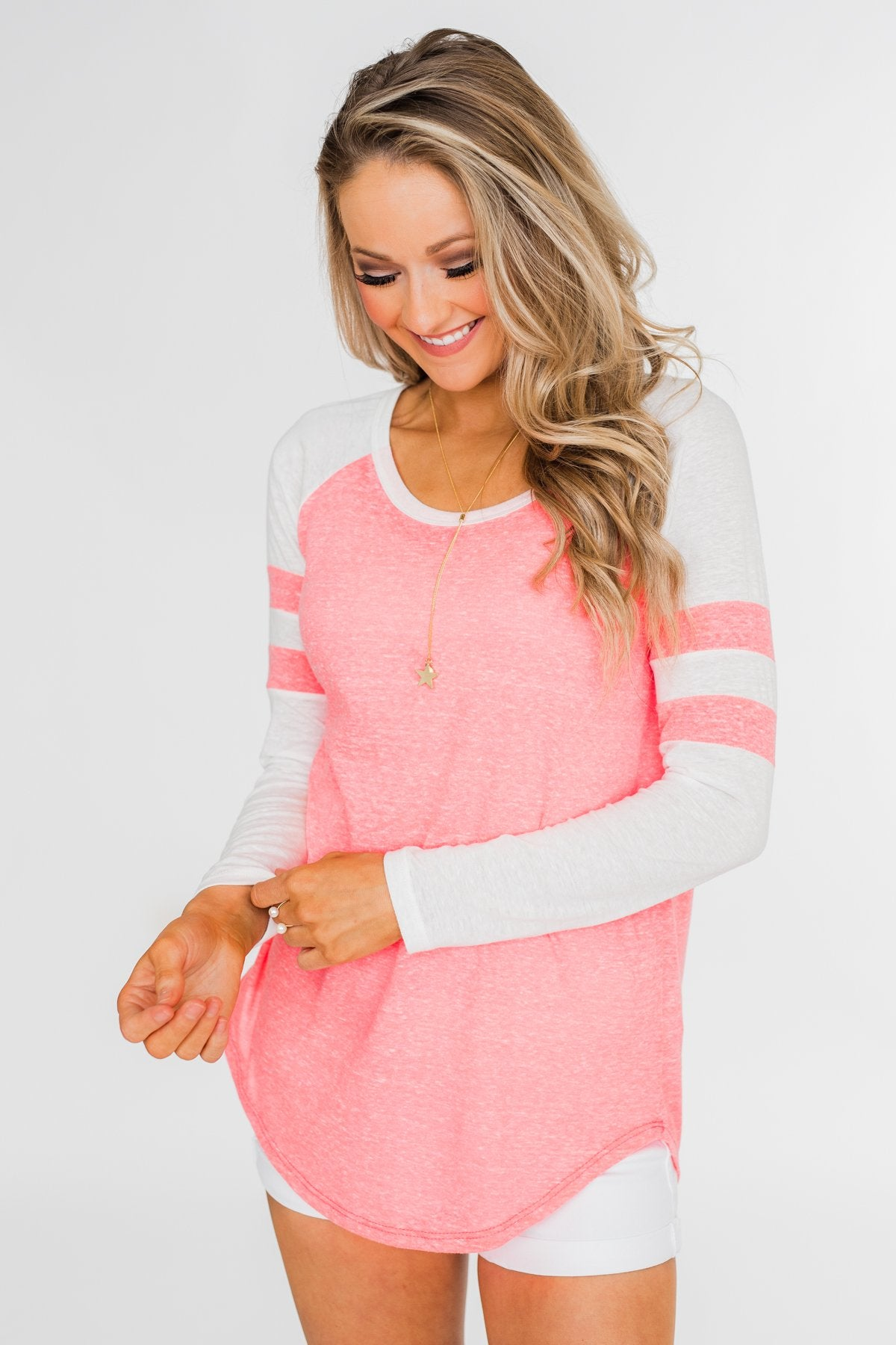 Striped Cold Shoulder Ruffle Top- Dusty Pink