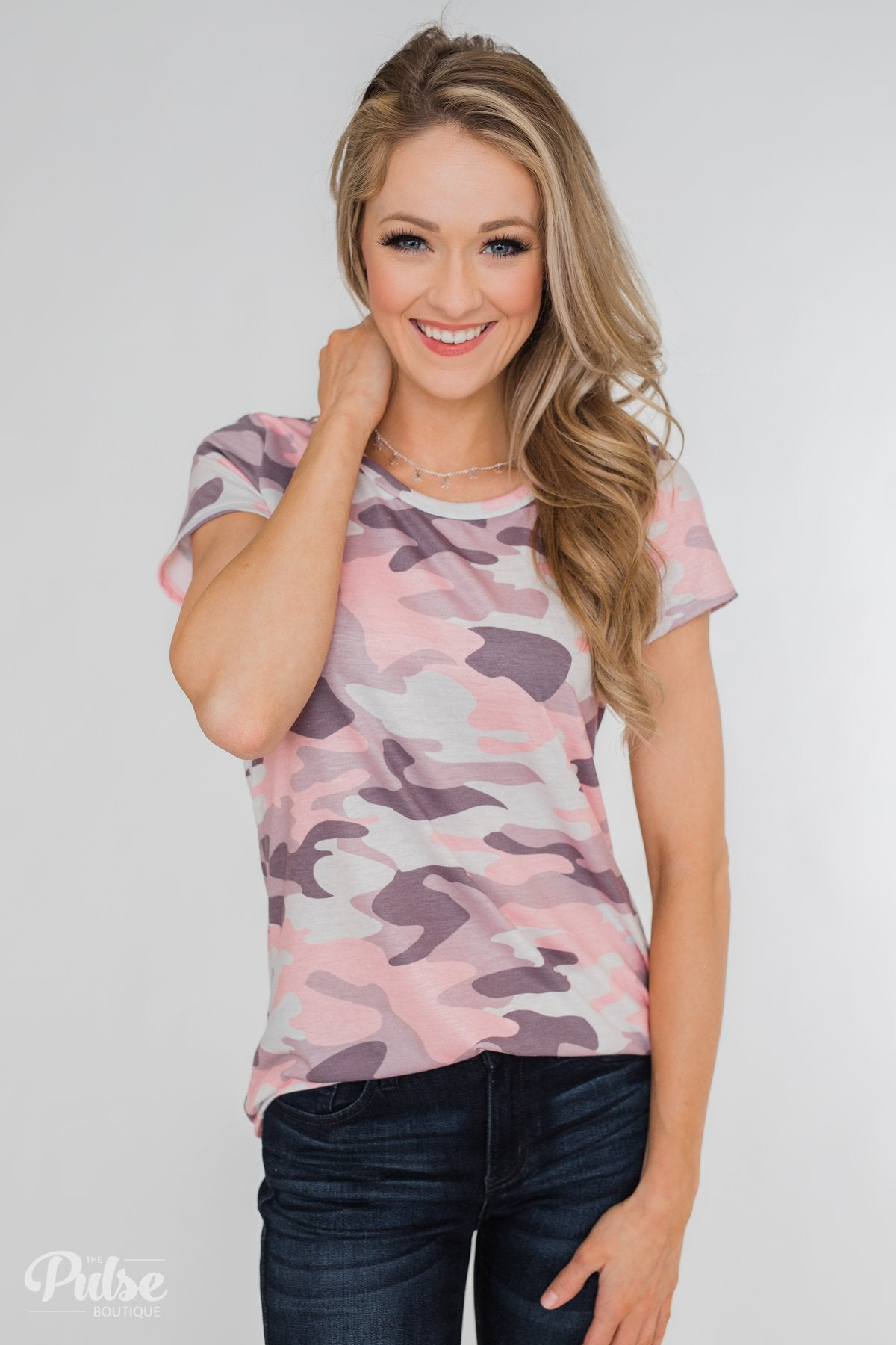 See Me Coming Short Sleeve Top- Pink Camo