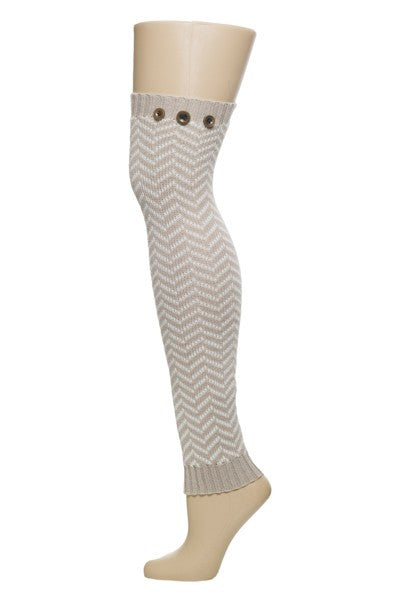 Chevron and Buttons Boot Cuff Leg Warmers