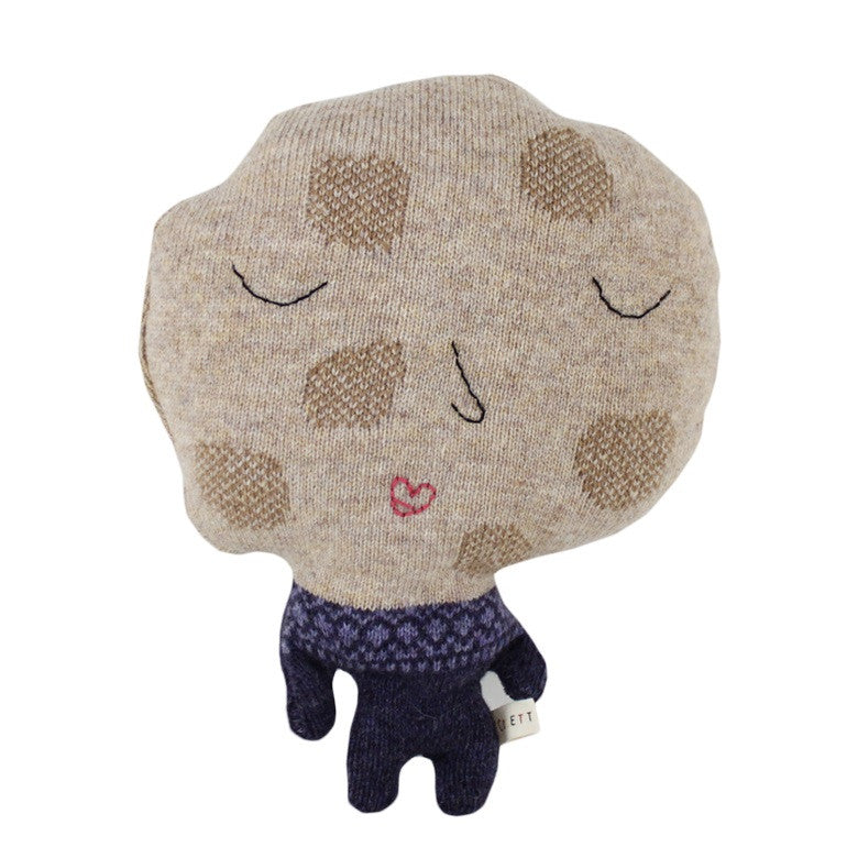 Colette Bream handmade knitted wool cushion/soft toy - Miss Cookie